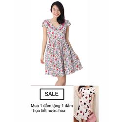 Đầm Hoa Cổ Sen W454 + tặng đầm họa tiết nước hoa
