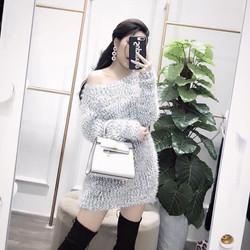 Đầm len lệch vai hàng chuẩn form TQXK loại 1