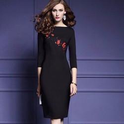Đầm ôm thun thêu hoa mai DON200285 - Hàng nhập loại 1