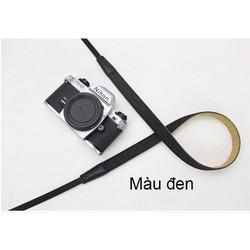 Dây đeo máy ảnh bản nhỏ thời trang da kết hợp với vải jean_màu đen