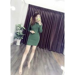 Đầm body tay dài xẻ vai
