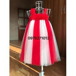 đầm tutu trắng pha đỏ hoa dải