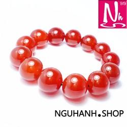 NHS036 - Vòng đá mã não phong thủy đeo tay màu đỏ may mắn-Tài lộc