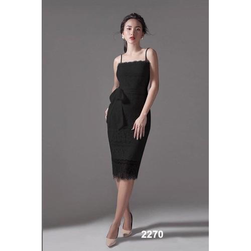 Đầm body ren đen thắt nơ eo