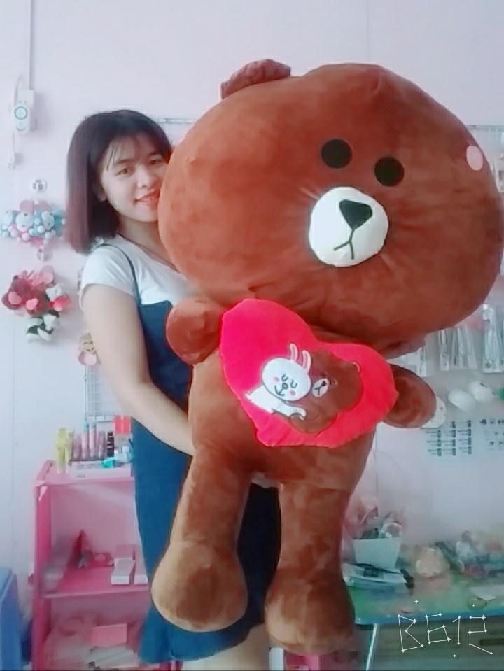 Gấu Brown Ôm Trái Tim Love- Size 1m2 4