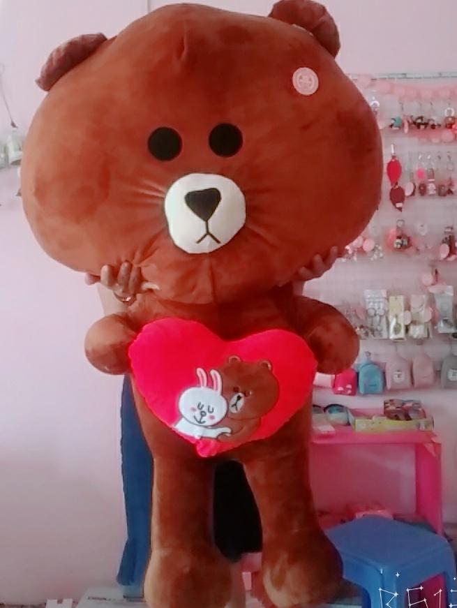 Gấu Brown Ôm Trái Tim Love- Size 1m2 3