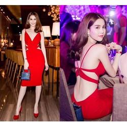 Đầm Ngọc Trinh ôm body kiểu hở lưng cutout cực tôn dáng quyến rũ
