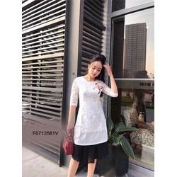 Đầm ren dài cách tân cài hoa hàng thiết kế! MS: S071258 Giá sỉ: 185k