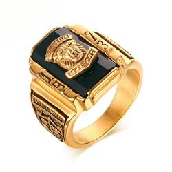 Nhẫn Nam SƯ TỬ đính đá đen độc đáo