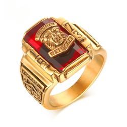 Nhẫn Nam SƯ TỬ đính đá đỏ sang trọng