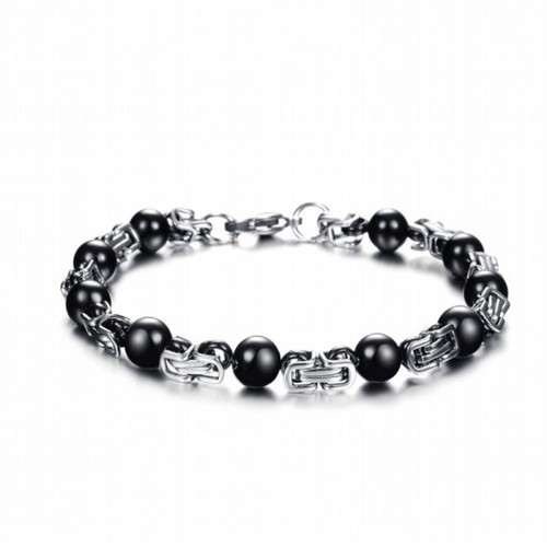 Vòng inox hạt đá đen -XMI01