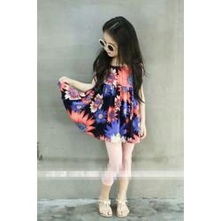 Đầm hoa 2 dây hàng Quảng Châu