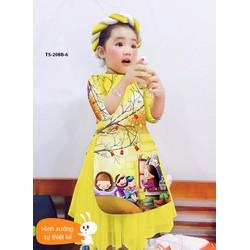 Bộ áo dài bé gái kèm mấn cực iu diện mùa xuân hàng vnxk