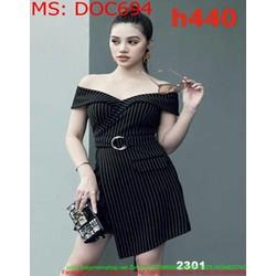 Đầm ôm body bẹt vai đắp chéo phối thăt lưng xinh xắn DOC694