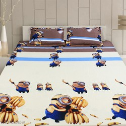 bộ drap cotton hàn quốc hình minion chuối đáng yêu