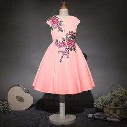 Đầm thun xòe thêu hoa - DB030
