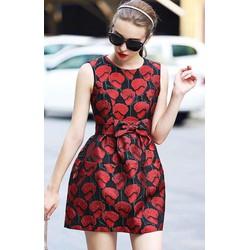 Đầm xòe hoa hồng eo nơ