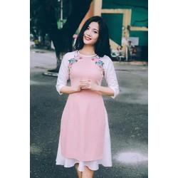 Set áo dài kết hoa Chân váy xinh iu - SETKN1292