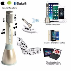 Micro karaoke tích hợp loa Bluetooth 3 trong 1 K068 Vàng đồng