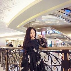 Đầm xoè tay dài in hoạ tiết hạc xinh iu