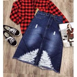Chân váy jeans rách