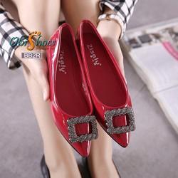 Giày búp bê bệt họa tiết vuông - hàng nhập cao cấp