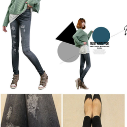 COMBO 2 QUẦN legging giả jean rách