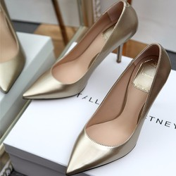 Giày cao gót bít mũi vàng ánh kim