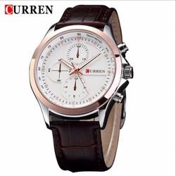 Đồng hồ nam Curren 6 kim - mặt trắng viền vàng