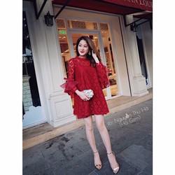 Đầm Suông Phối Ren Tay Loa