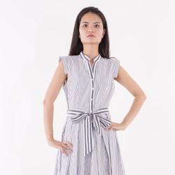 Đầm cột nơ sọc xanh