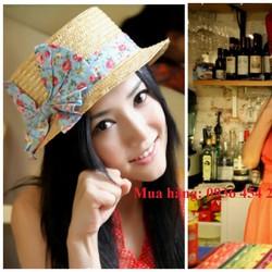 nón cói, mũ cói, nón thời trang, mũ cói thắt nơ thời trang, nó boater