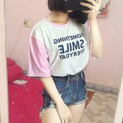 Áo Smile tay hồng