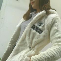 Áo khoác lông phối tay len Cao cấp
