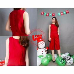 SuSu Shop - Set áo phối nút bọc kèm quần culottes - SSH512