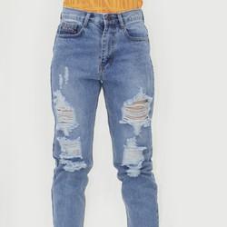Quần Jeans Dài Rách Lưng Cao  Bụi