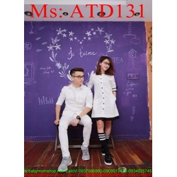 Sét đồ đôi áo sơ mi và chân váy xòe phối viền sành điệu ATD131