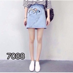 Chân Váy Jeans Thêu - Hàng Nhập