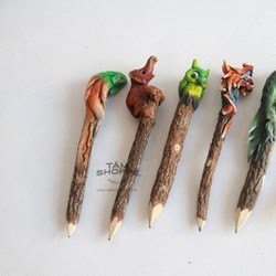 Bút chì gỗ thân cây tự nhiên hình thú