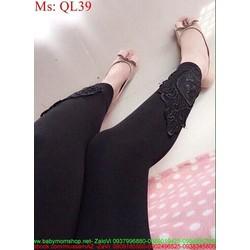 Quần legging nữ thun đen phối ren cá tính và thời trang QL39