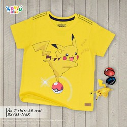 Áo thun in hình Pikachu đứng trên Pokeball 33-50kg