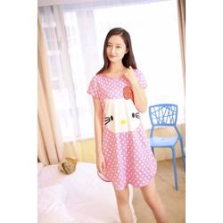 Đầm mặc nhà kitty hồng chấm bi DT90