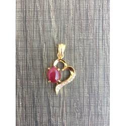 mặt dây chuyền vàng 10k gắn đá Ruby tự nhiên