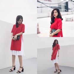 Sét áo dài cách tân tay ngắn + chân váy xoè xinh iu
