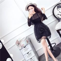 Đầm xòe kim sa ren tay dài