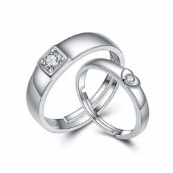 Nhẫn cặp nam nữ free size bạc 925 S406 - bộ 2 chiếc