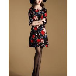 Đầm hoa đỏ suông họa tiết in hoa sành điệu GB01