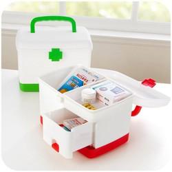 Hộp đựng thuốc y tế gia đình nhiều ngăn tăng kèm 4 món tiện ích