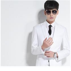 Bộ vest comple 3 món vest, ghi lê và quần âu màu trắng trang nhã