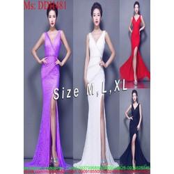 Đầm dạ hội sách nách xẻ cổ V và đùi sang trọng thời trang DDH481